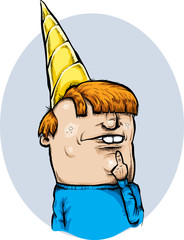 A cartoon teen looking confused with Dunce Cap on his head.