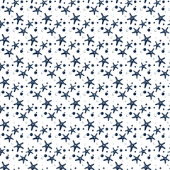 Seamless fabric. A Maritime theme. Blue. Ornament, background, texture, wrapping, Wallpaper , greeting, print. Starfish.