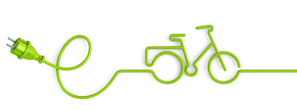 Green power plug bent in a bicycle shape