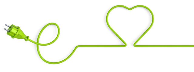 Green power plug bent in a heart shape