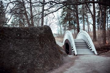 wooden bridge white color vintage in Park Monrepo