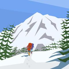 climbers climb the mountain vector background