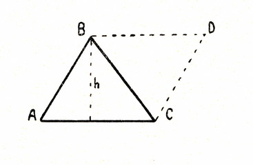 Theorem - area of triangle is equal to the half of area of parallelogram, if its bases and heights are equal