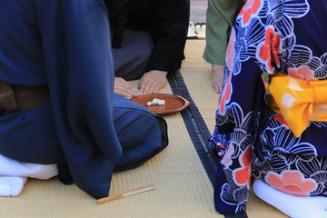 Beginning of the Japanese green tea ceremony on tatami mat