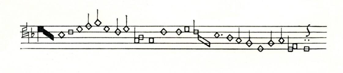 Structural tenor from three voice Burgundian chanson by Gilles Binchois (ca. 1400-1460) in 15-17th century mensural notation (from Meyers Lexikon, 1896, 13/36/37)