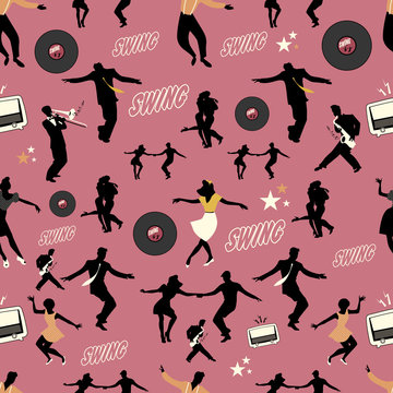 Swing dance pattern. Dancers and musicians. Retro style. Seamless.