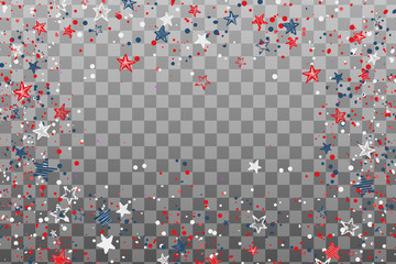 USA celebration confetti hand drawn stars in national colors for American independence day isolated on transparent background. Vector illustration