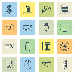 Device Icons Set. Collection Of Print Device, Player, Photographing And Other Elements. Also Includes Symbols Such As Mp3, Computer, Loudspeaker.