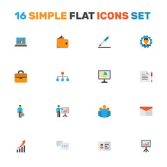 Trade Flat Icons Set. Collection Of Increasing, Suitcase, Contract And Other Elements. Also Includes Symbols Such As Man, Chatting, Id.