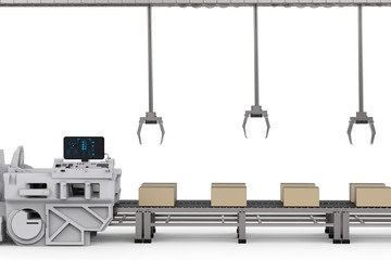 robot arms with boxes on conveyor in factory