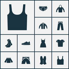 Garment Icons Set. Collection Of Casual, Waistcoat, Pants And Other Elements. Also Includes Symbols Such As Shoes, Leggings, Apparel.