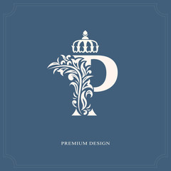 Elegant letter P with a crown. Graceful royal style. Calligraphic beautiful logo. Vintage drawn emblem for book design, brand name, business card, Restaurant, Boutique, Hotel. Vector illustration