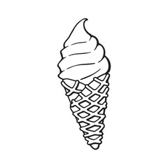 Vector illustration. Hand drawn doodle of ice cream in the waffle cone. Cartoon sketch.  Decoration for menus, signboards, showcases, greeting cards, posters, wallpapers