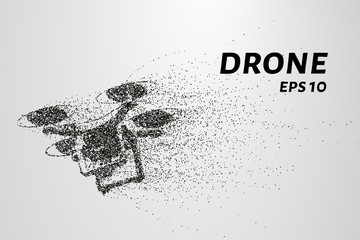 The drone of the particles. The quadcopter consists of circles and points. Vector illustration.