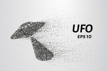 UFO from the particles. UFO is made of circles and dots. Vector illustration.