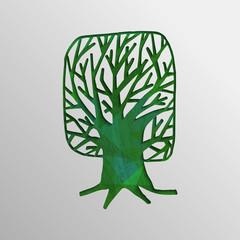Green 3d tree cutout design concept of nature help