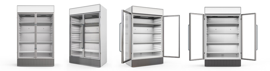 commercial fridge with glass doors