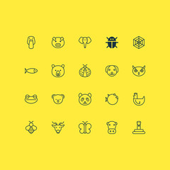 Nature Icons Set. Collection Of Puppy, Kine, Hen And Other Elements. Also Includes Symbols Such As Bug, Snake, Elephant.