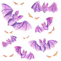Watercolour illustration purple bat and yellow eyes