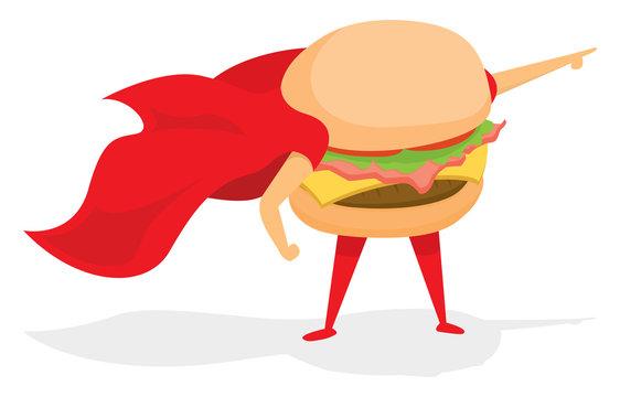 Super burger hero with cape