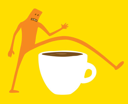 Doodle character jumping over coffee or breakfast