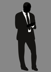 Vector, isolated on gray background silhouette of man in suit