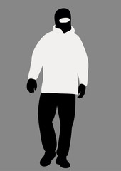Vector, isolated on gray background silhouette of terrorist