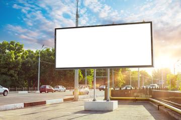 Fototapeta Billboard canvas mock up in city background beautiful sunshine obraz