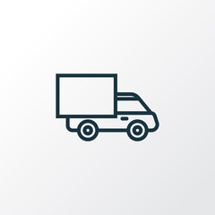 Truck Outline Symbol. Premium Quality Isolated Lorry Element In Trendy Style.