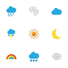 Climate Flat Icons Set. Collection Of Windy, Sun, Rain And Other Elements. Also Includes Symbols Such As Demilune, Cloud, Rainbow.