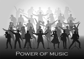 Power of music concept. Set of silhouettes of musicians, singers and dancers. Vector illustration
