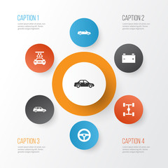Car Icons Set. Collection Of Automobile, Transport Cleaning, Convertible Model And Other Elements. Also Includes Symbols Such As Wash, Convertible, Automobile.