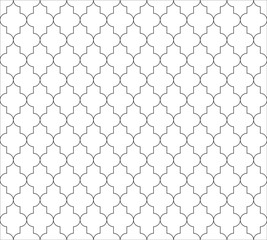 Moroccan islamic seamless pattern background in black and white. Vintage and retro abstract ornamental design. Simple flat vector illustration.