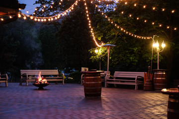 Special Occasion Outdoors on the Patio by the Fire Pit