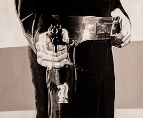 Black and white portrait painting of a cowboy holding a six shooter gun.