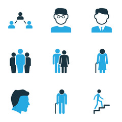 Human Colorful Icons Set. Collection Of Oldster, Group, Contact And Other Elements. Also Includes Symbols Such As Group, Oldster, Married.