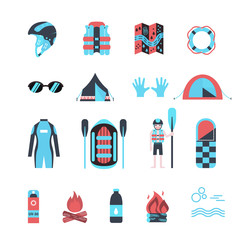 Rafting infographic elements.