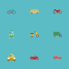 Flat Icons Luxury Auto, Metro, Bicycle And Other Vector Elements. Set Of Vehicle Flat Icons Symbols Also Includes Taxi, Bike, Motorbike Objects.