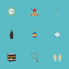 Flat Icons Mosque, Decorative, Arabic Calligraphy And Other Vector Elements. Set Of Holiday Flat Icons Symbols Also Includes Mekkah, Mubarak, Kaaba Objects.