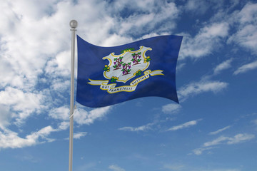 Connecticut flag waving in the sky