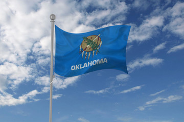 Oklahoma flag waving in the sky