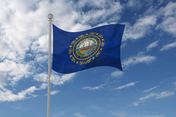 New Hampshire flag waving in the sky