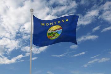 Montana flag waving in the sky