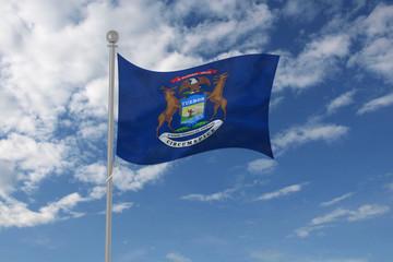 Michigan flag waving in the sky