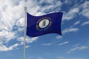 Kentucky flag waving in the sky