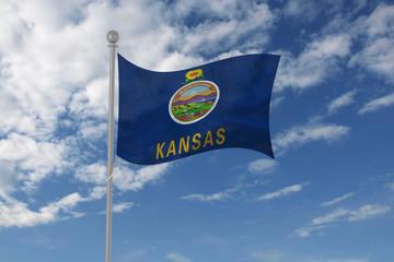 Kansas flag waving in the sky