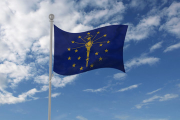 Indiana flag waving in the sky