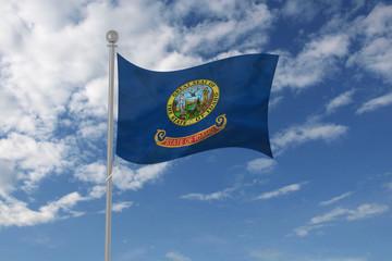 Idaho flag waving in the sky