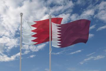 Bahrain and Qatar flag waving in the sky