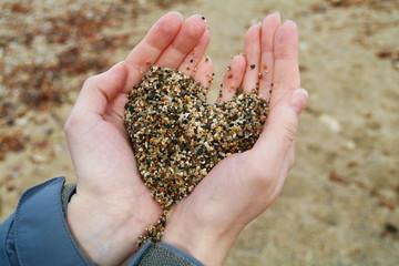 Sea sand heart